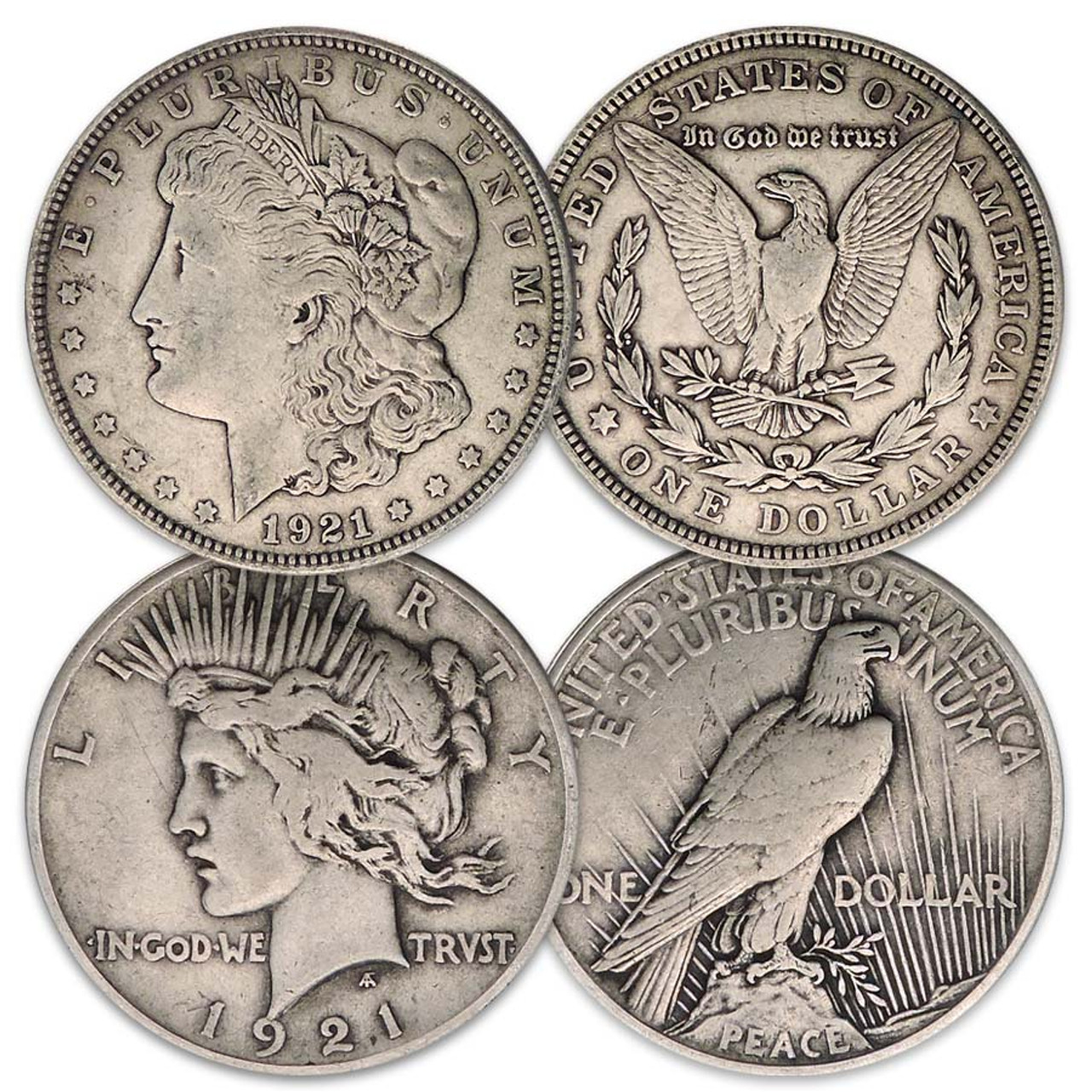 1921-P Morgan & Peace Silver Dollar Pair Very Fine