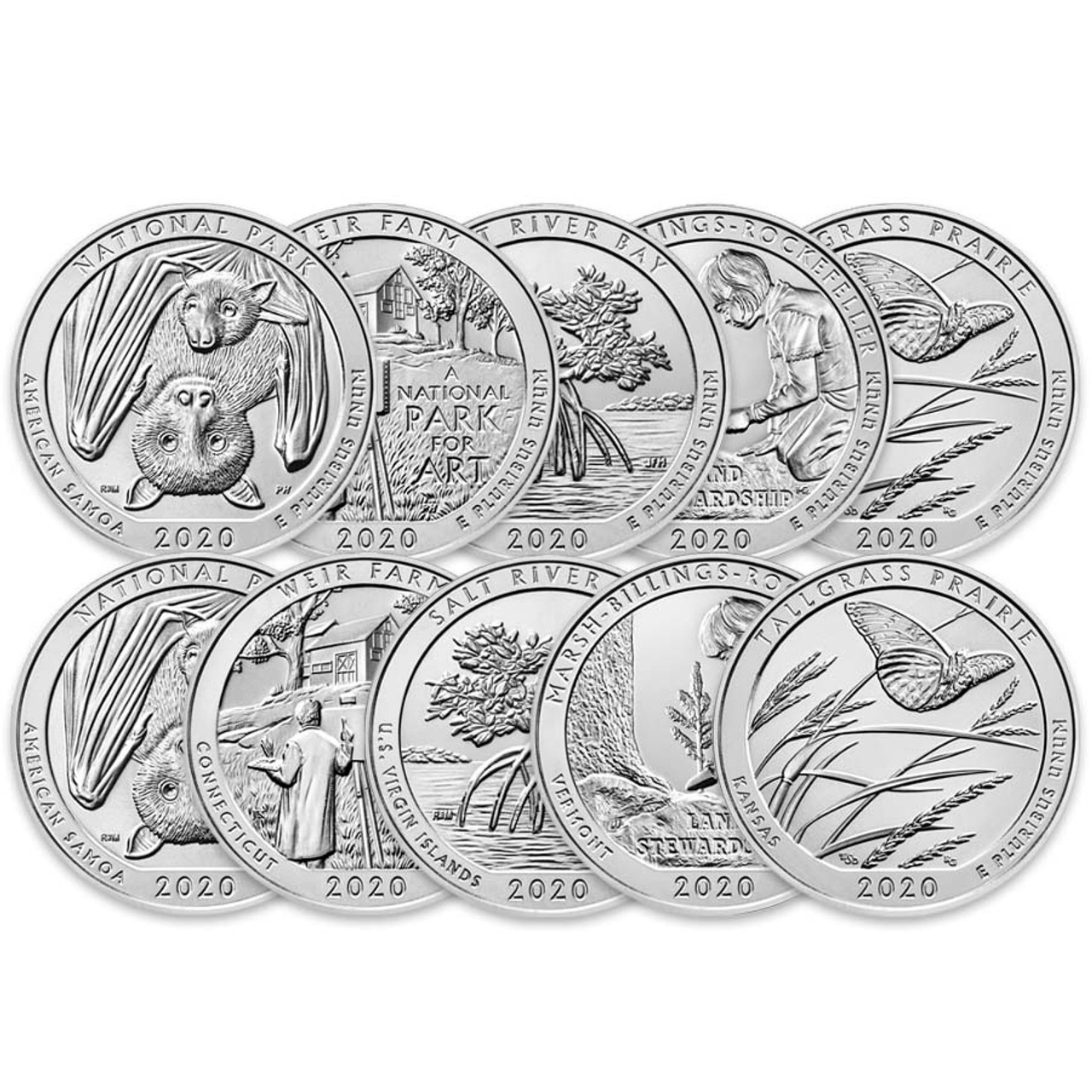 2020 P & D National Parks Quarter 10 Coin Set Brilliant Uncirculated