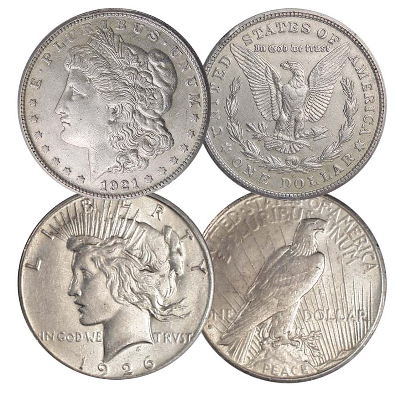 1921-S Morgan & 1926-S Peace Silver Dollar Pair Extra Fine