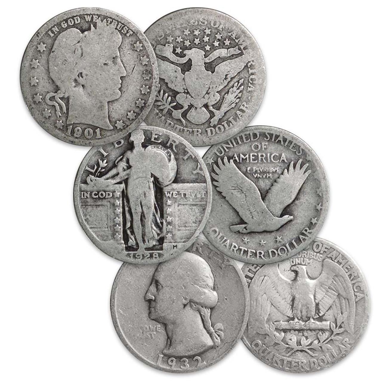 Liberty Head, Standing Liberty & Washington Silver Quarter Type Set Trio