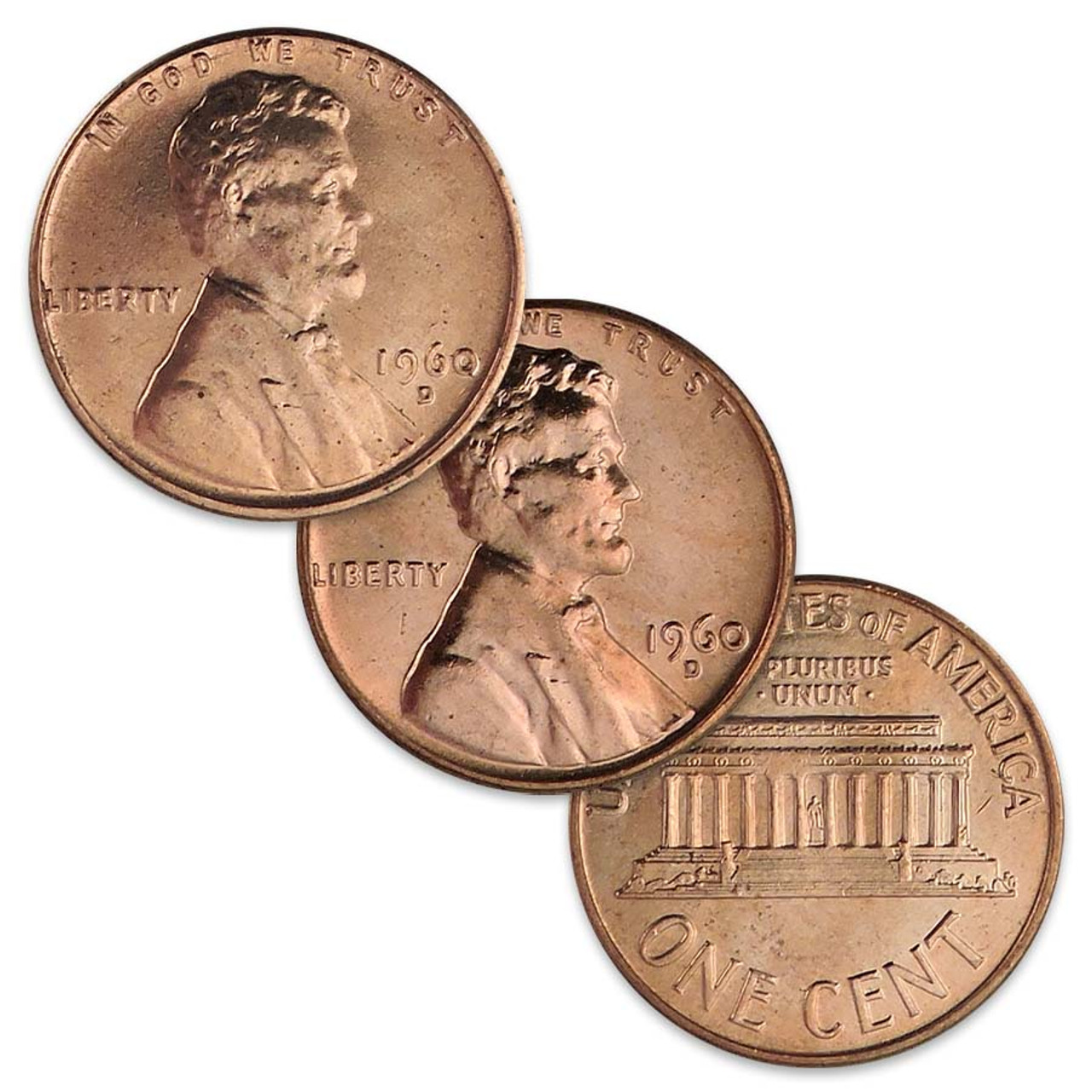 1960-D Small & Large Date Lincoln Cent Pair Brilliant Uncirculated