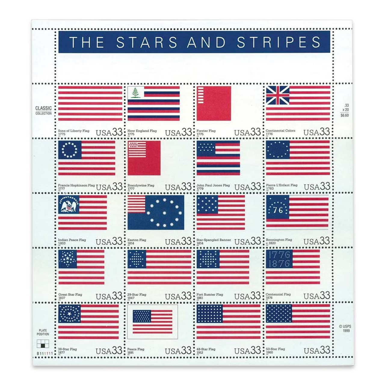 2000 Stars and Stripes Stamp Sheet