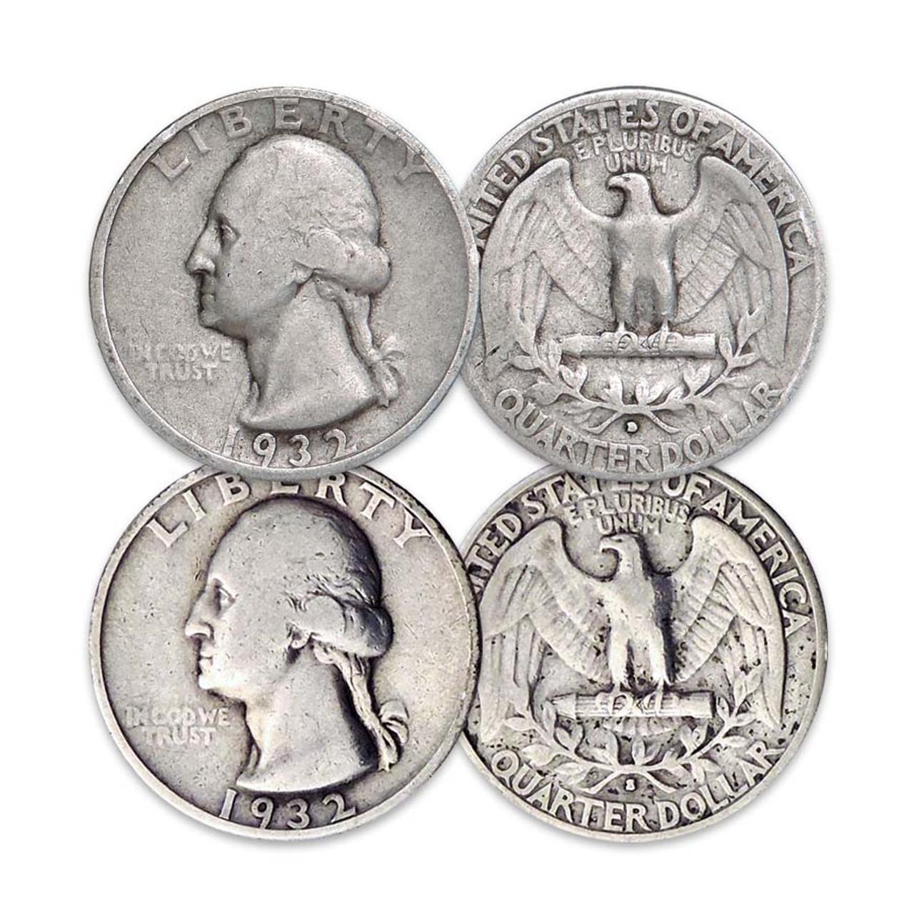 1932-D & S Washington Silver Quarter Pair Fine