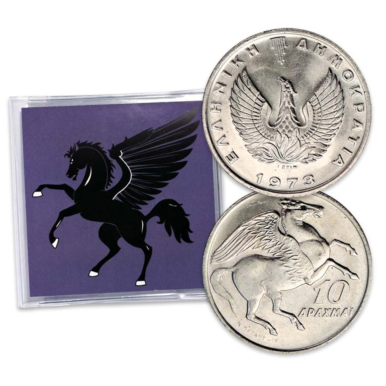 Greece 1973 Pegasus 10 Drachmai Uncirculated