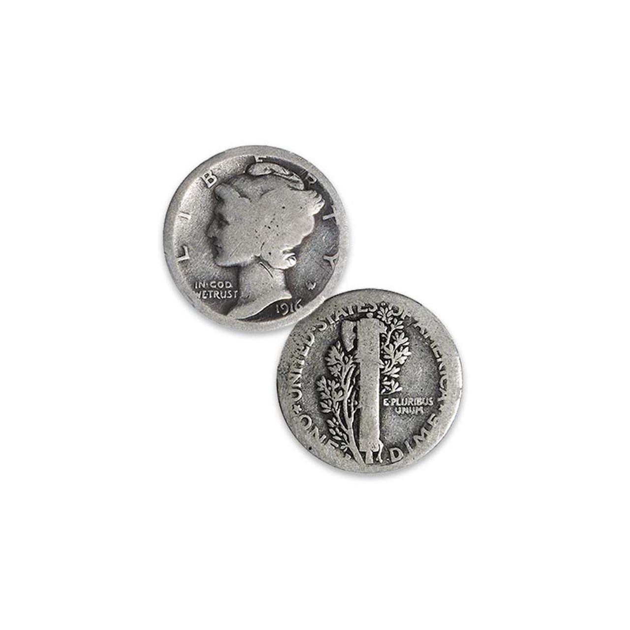 1916-D Mercury Silver Dime About Good