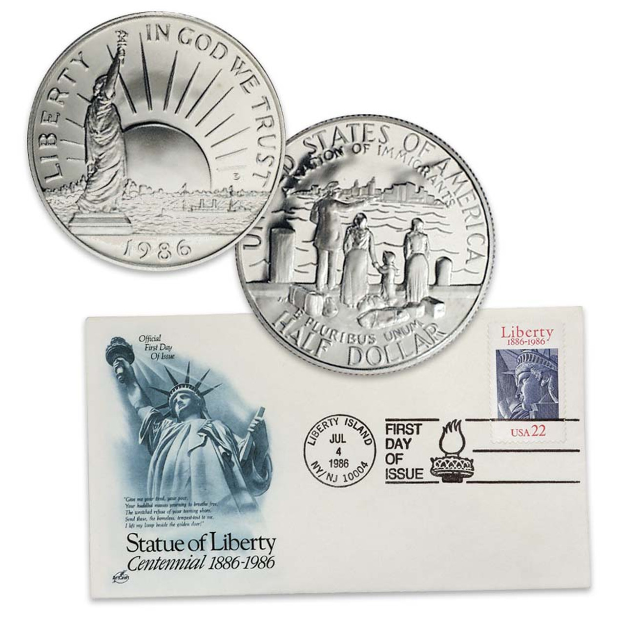 1986 Statue of Liberty Half Dollar Brilliant Uncirculated with Free First Day  Cover