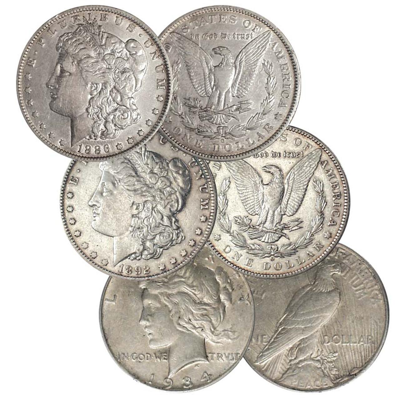 1886-O, 1892-O Morgan Silver Dollar & 1934-D Peace Silver Dollar Trio Extra Fine