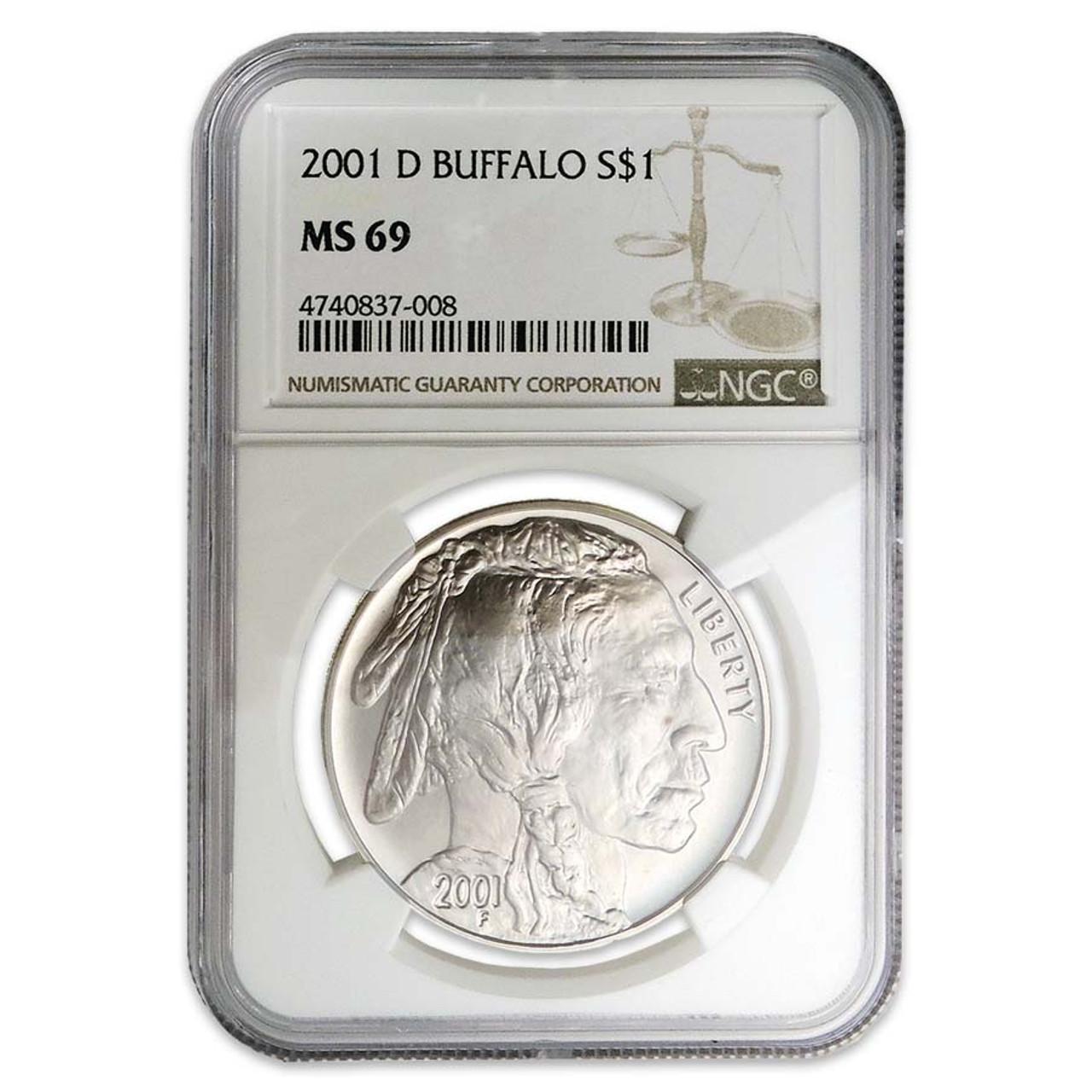 2001-D Buffalo Silver Dollar Certified MS-69