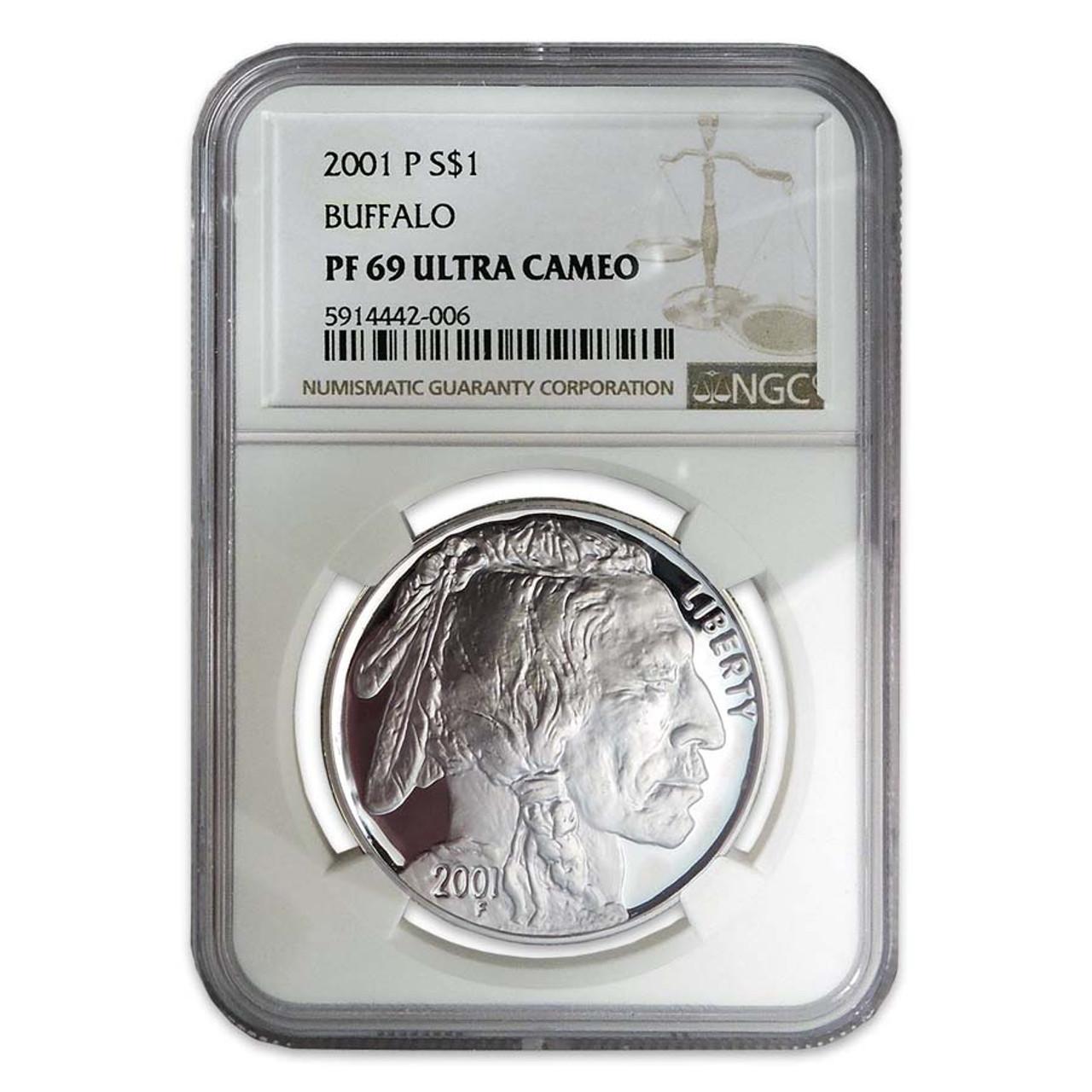 2001 Buffalo Silver Dollar Certified PR-69
