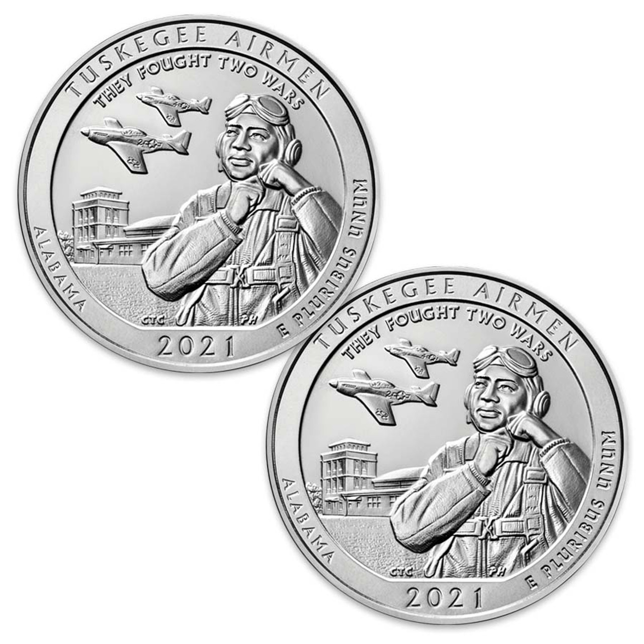 2021 P & D Tuskegee Airmen National Historic Site Quarter Pair Brilliant Uncirculated