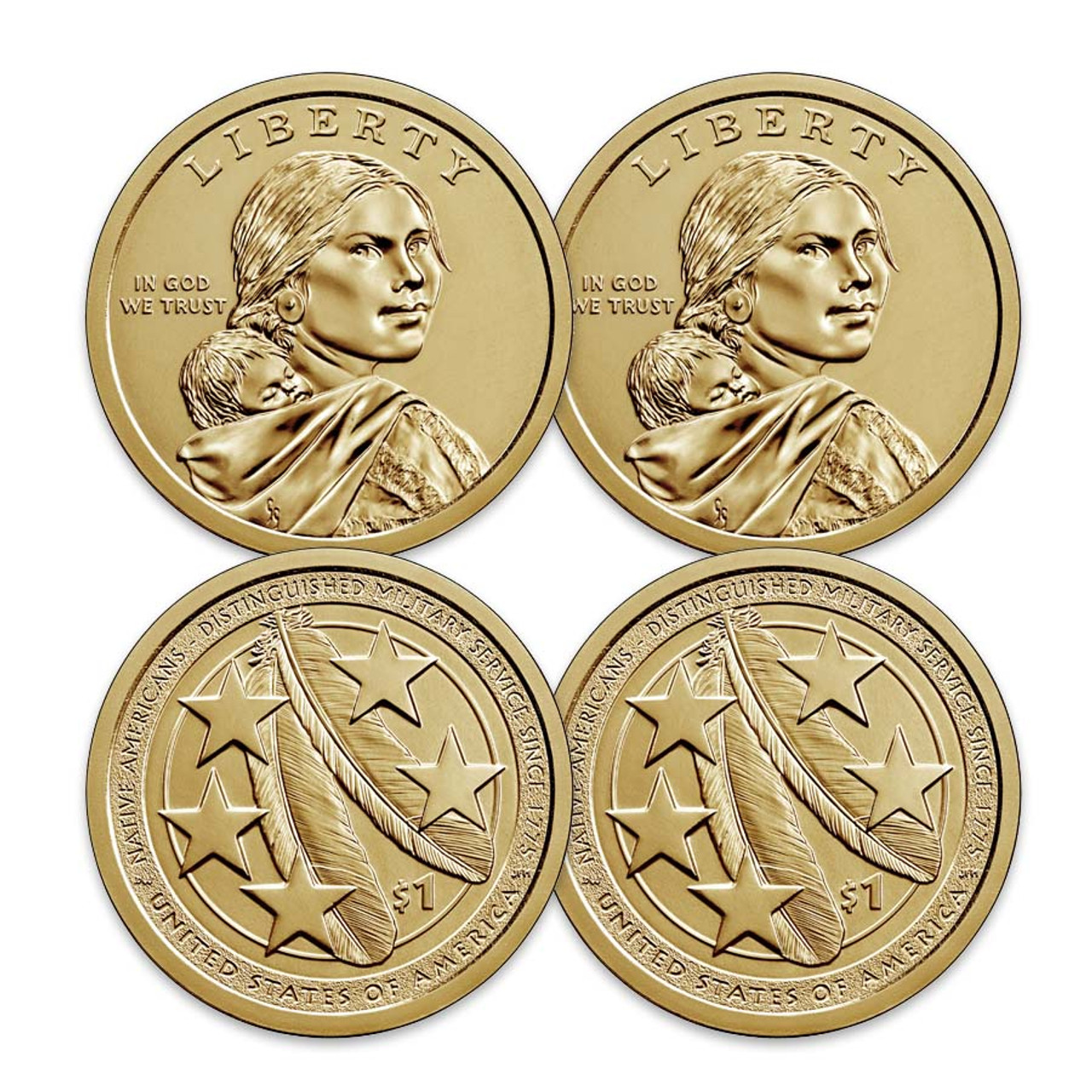 2021 P & D Native American Dollar Pair Brilliant Uncirculated
