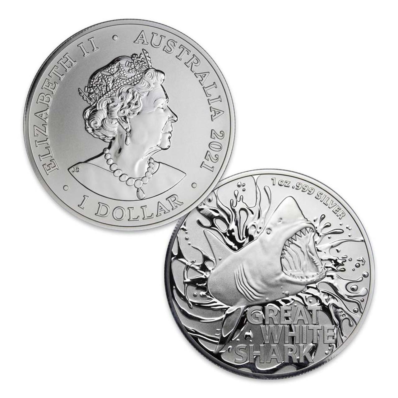 Australia 2021 Great White Shark 1-Oz. Silver Dollar Brilliant Uncirculated