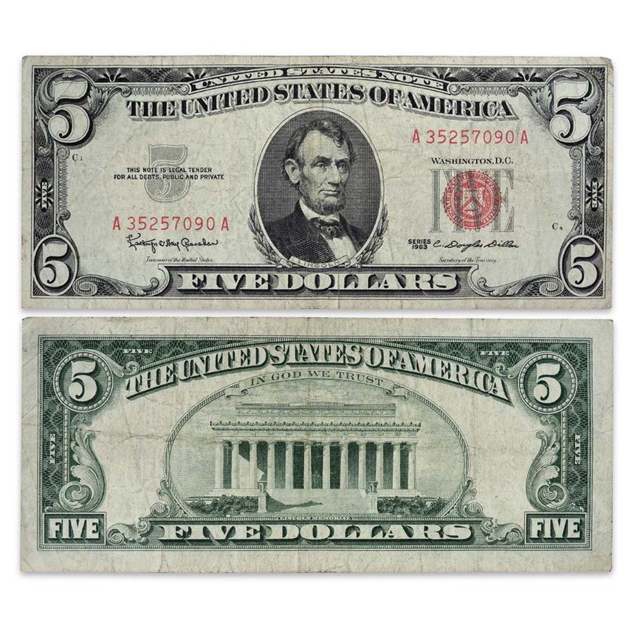 1963 $5 Red Seal Banknote Fine