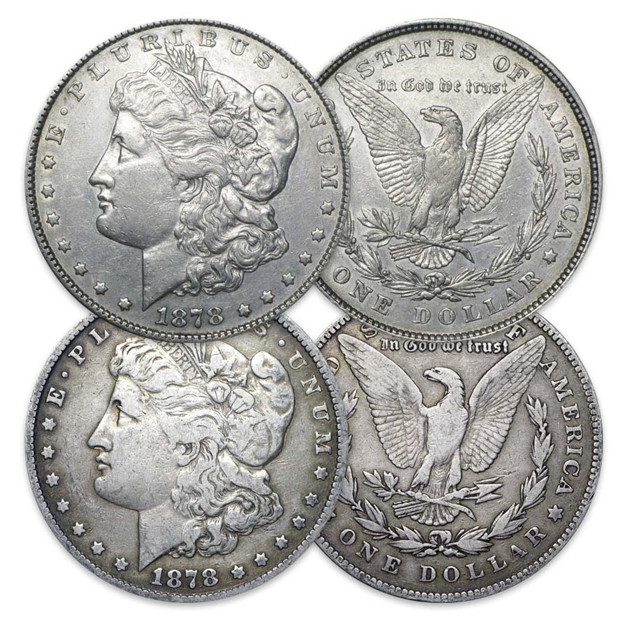 1878-P 8-Tail Feather & 7-Tail Feather Morgan Silver Dollar Pair Extra Fine/Very Fine