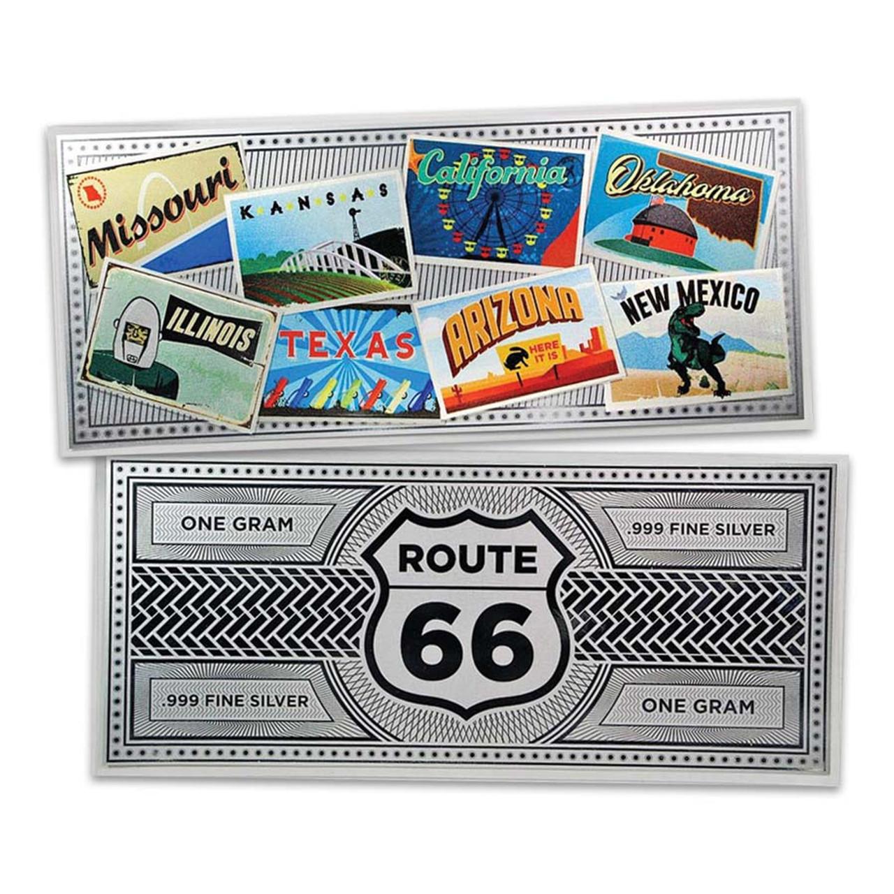 Route 66 Colorized 1 Gram Silver Foil Note