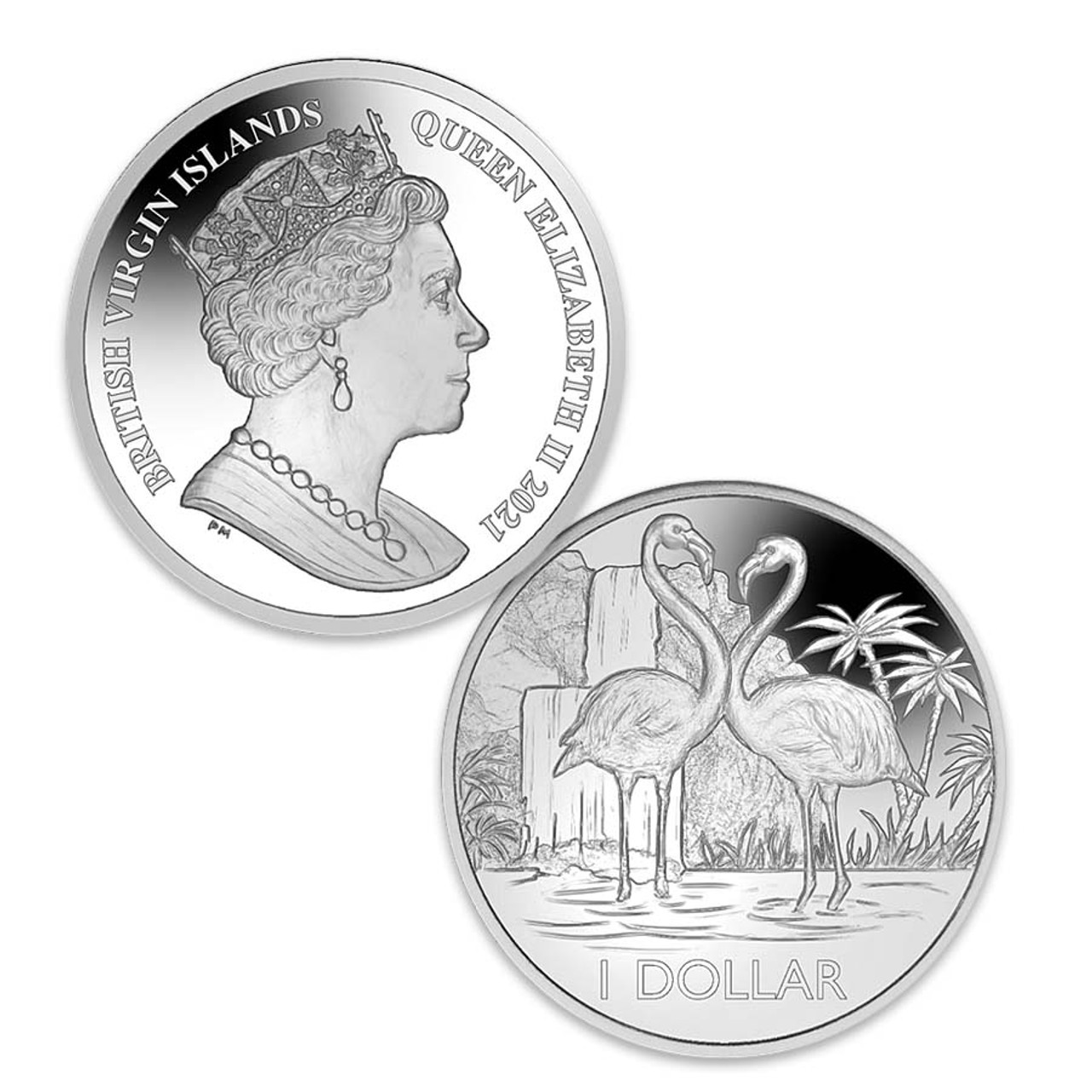 British Virgin Islands 2021 Flamingo Dollar Brilliant Uncirculated Image 1