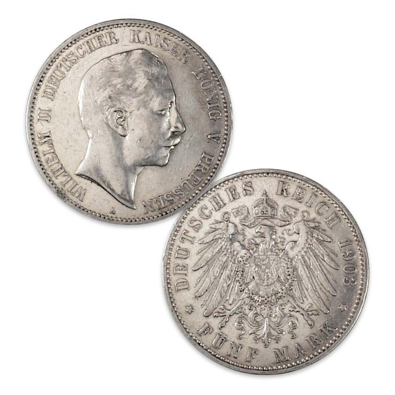 Prussia 1891-1907 Wilhelm II Silver 5 Mark Very Fine