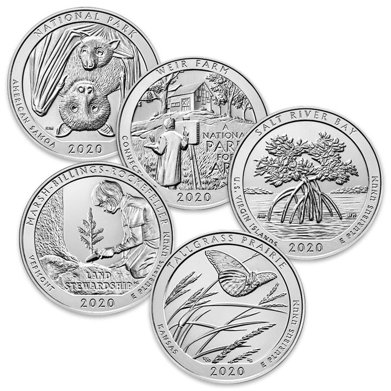 2020 National Park Quarters 5 Coins Brilliant Uncirculated