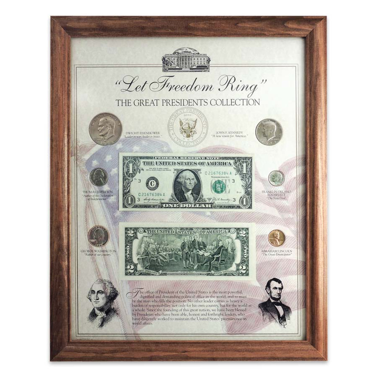 """The Great Presidents """"Let Freedom Ring"""" Coin & Currency Framed Collection"""