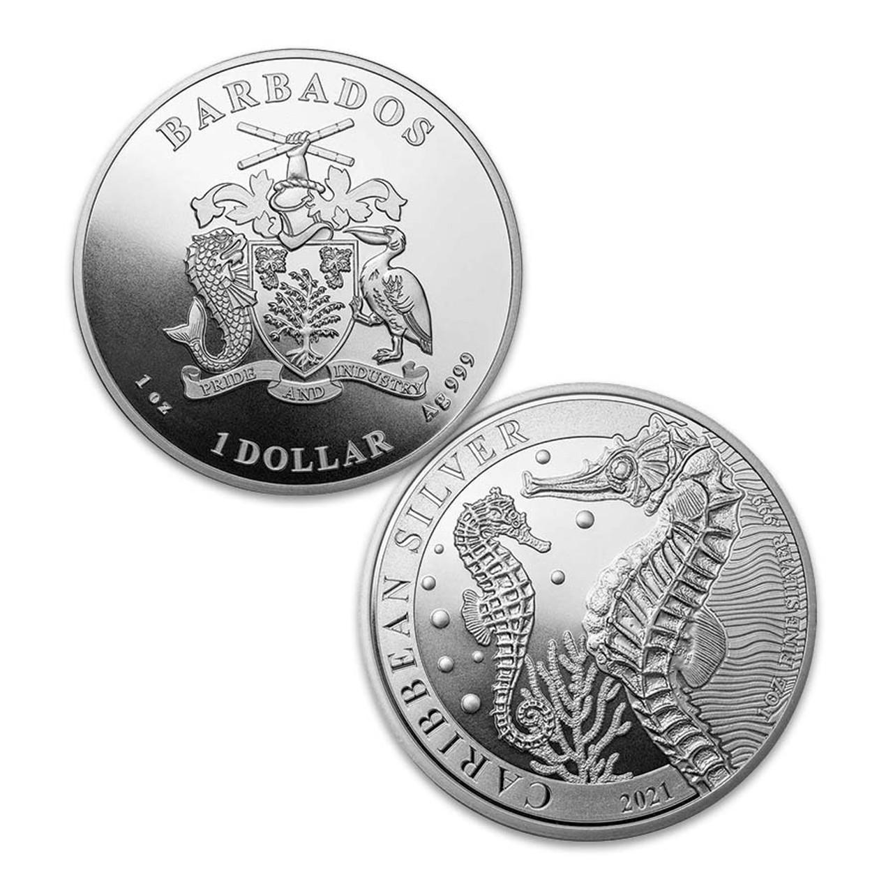 Barbados 2021 Caribbean Seahorse 1-Oz. Silver Dollar Brilliant Uncirculated