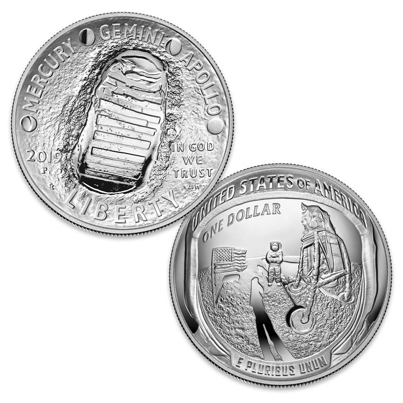 2019 Apollo 11 Curved Silver Dollar Proof