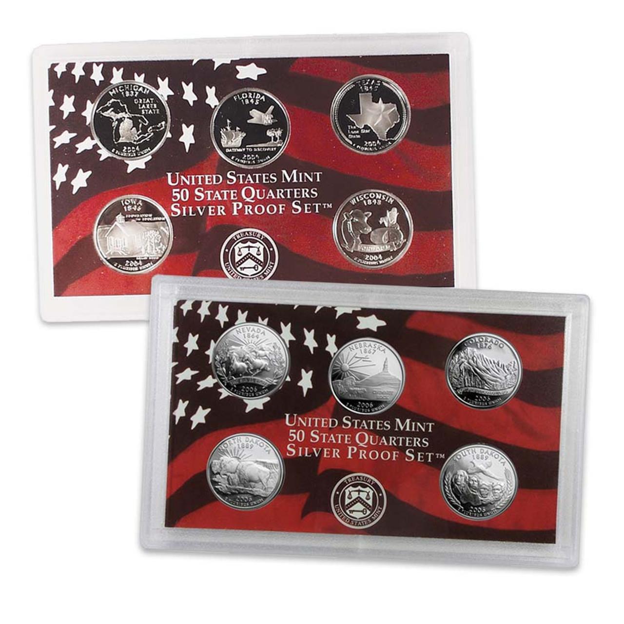 2004 & 2006 Statehood Quarter Silver Proof Set Pair