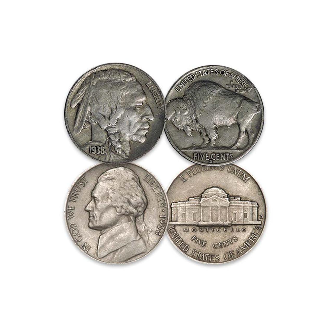 1938-D Buffalo & Jefferson Nickel Pair Fine