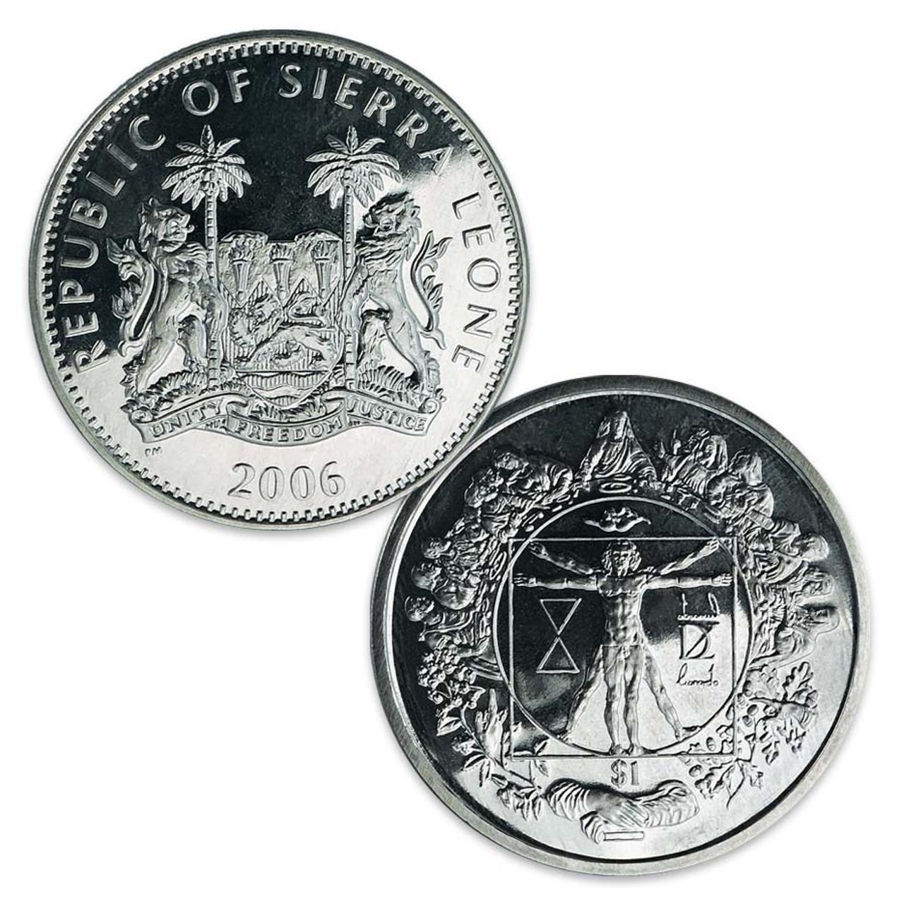 Sierra Leone 2006 Last Supper/Vitruvian Man Dollar Brilliant Uncirculated