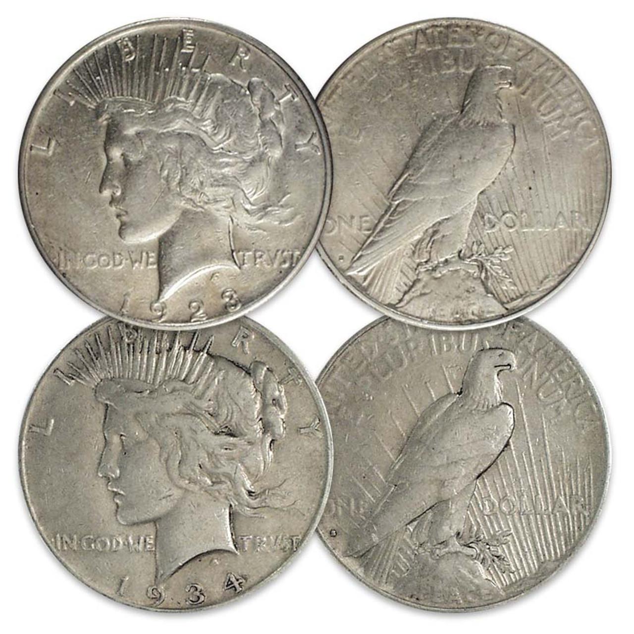 1923-S & 1934-S Peace Silver Dollar Pair Very Fine