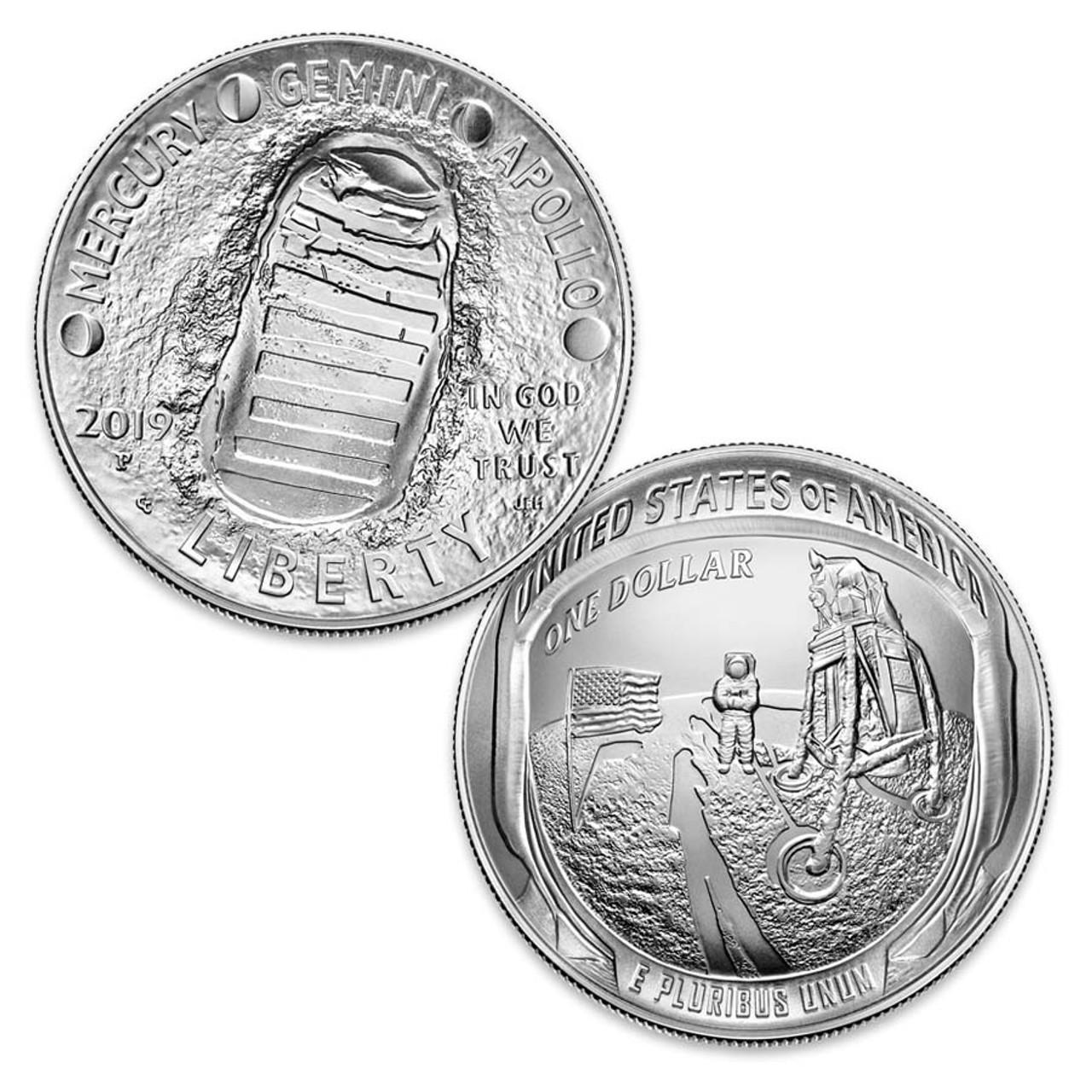 2019 Apollo 11 Curved Silver Dollar Brilliant Uncirculated