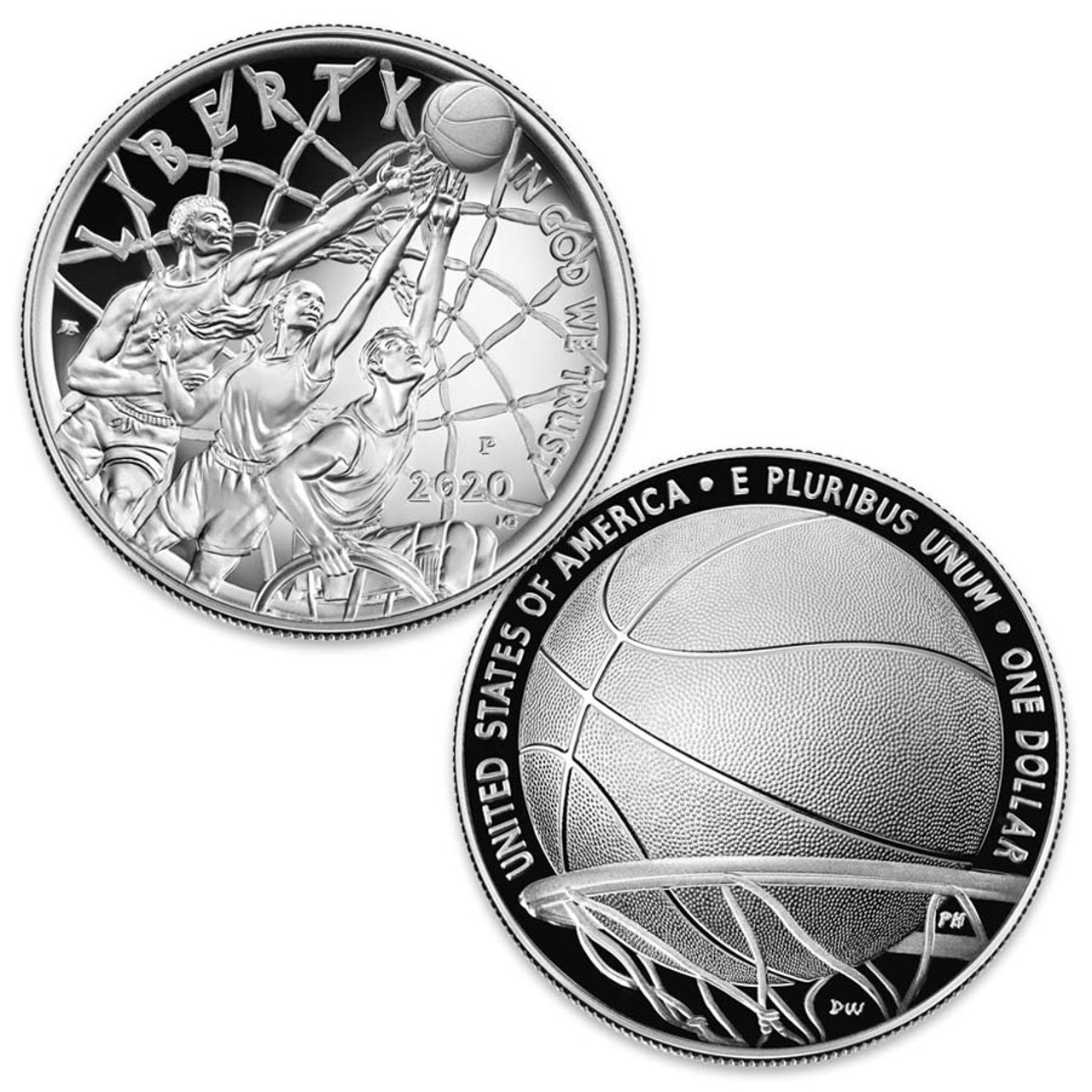 2020 Basketball Hall of Fame Curved Silver Dollar Proof