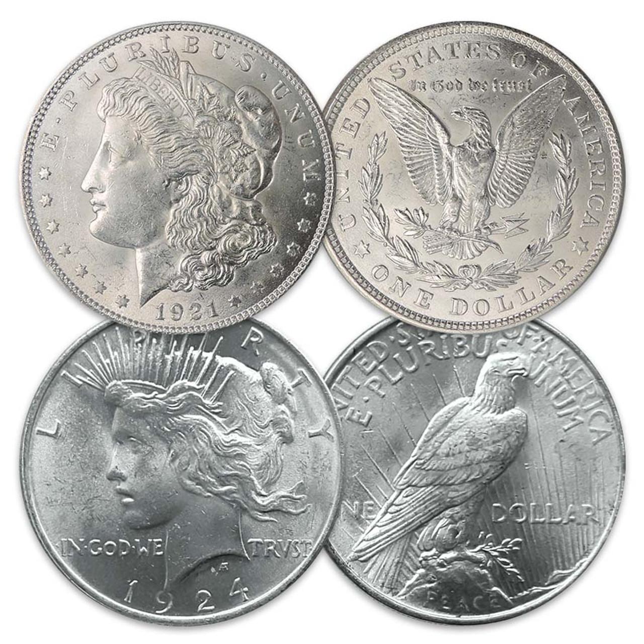 1921-P Morgan & 1924-P Peace Silver Dollar Pair Brilliant Uncirculated
