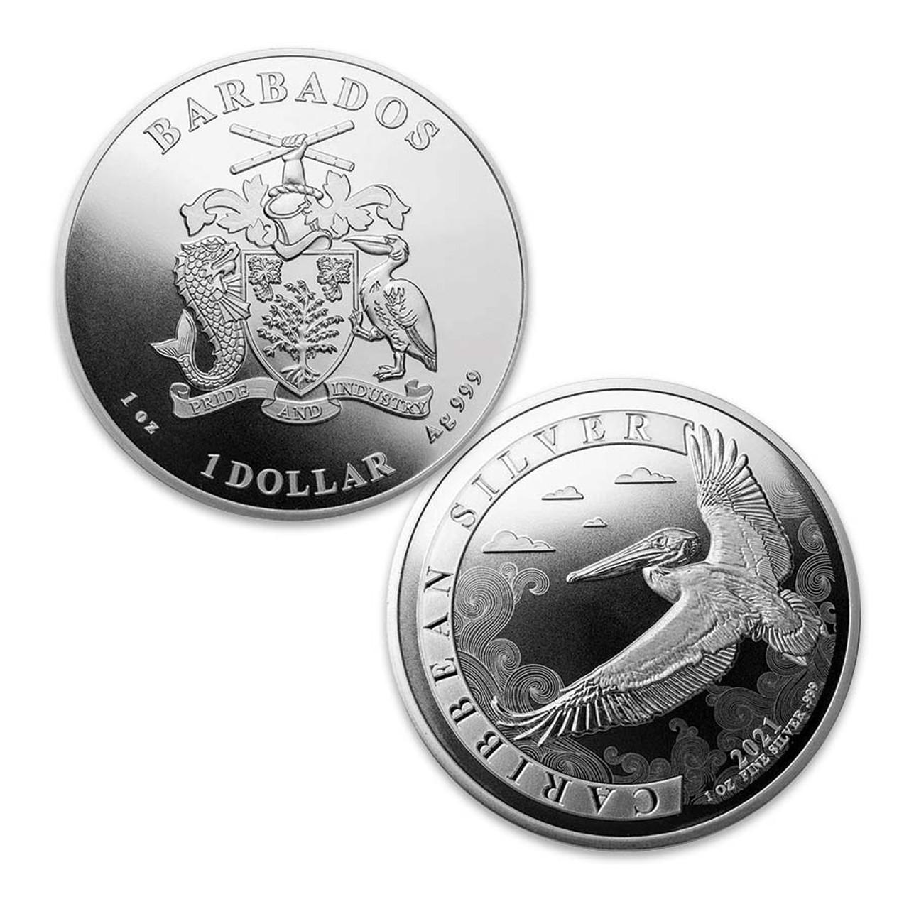 Barbados 2021 Pelican 1-Oz. Pelican Silver Dollar Brilliant Uncirculated