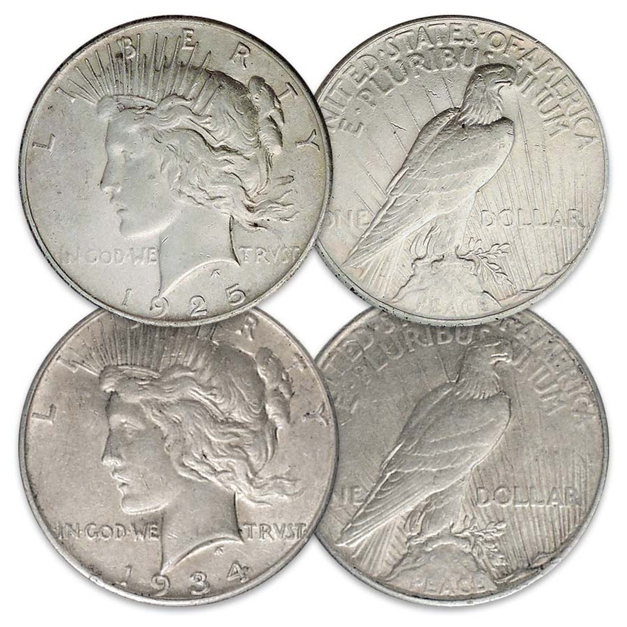1925-P & 1934-P Peace Silver Dollar Pair Extra Fine