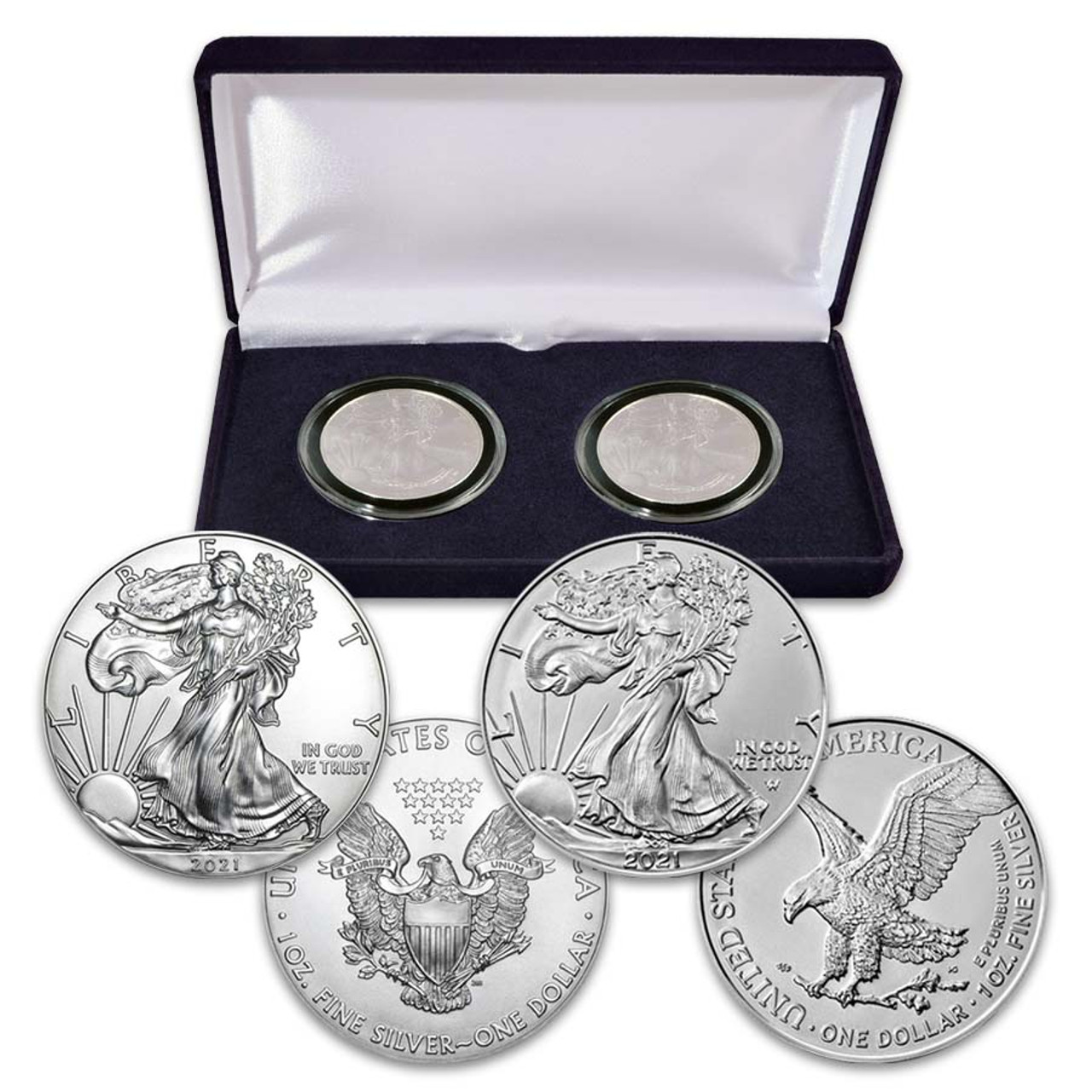 2021 Silver Eagle Type I & Type II Pair in Case