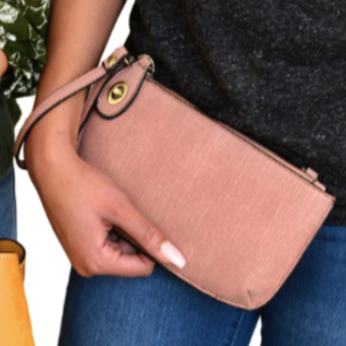Faux Linen Crossbody Clutch