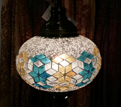 Turkish Mosaic Hanging Lantern - Medium - Clear with Blue & Yellow