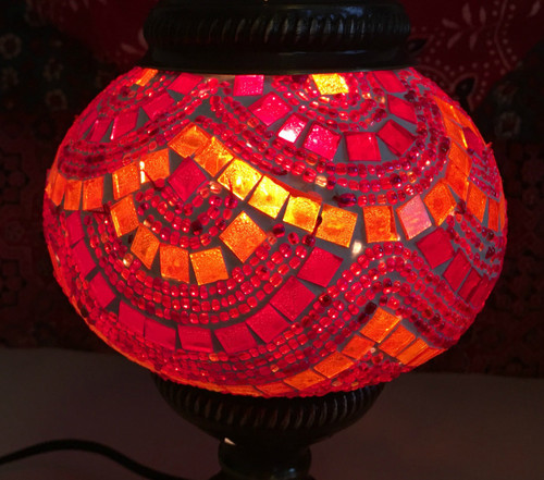 Turkish Mosaic Table Lantern - Small - Red & Orange