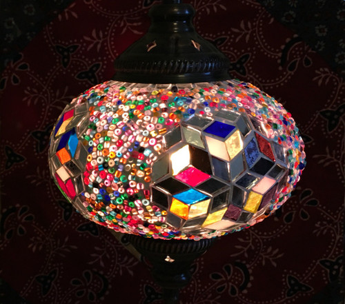 Turkish Mosaic Hanging Lantern - Medium - Multicolor