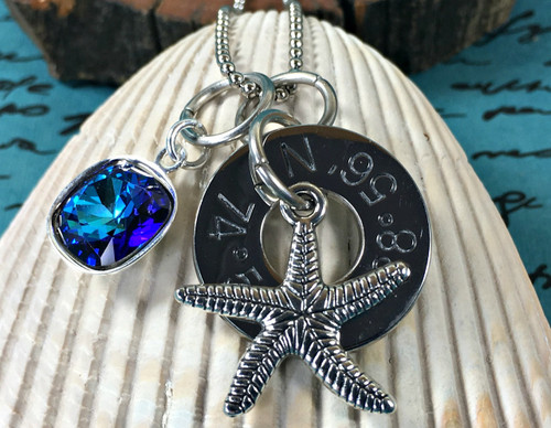 Find Your Way Back - Cape May Coordinates Necklace with Starfish & Blue Crystal