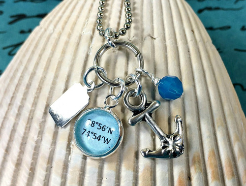 Find Your Way Back - Cape May Coordinates Necklace with Anchor & Blue Crystal