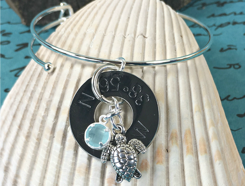 Find Your Way Back - Cape May Coordinates Silver Bracelet - Sea Turtle with Light Blue Crystal