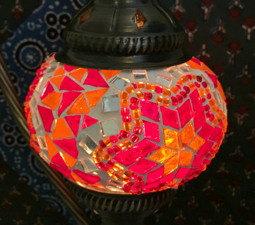 Turkish Mosaic Lantern Gooseneck - Red & Orange