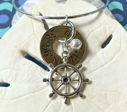 Find Your Way Back - Cape May Coordinates Silver Bracelet - Wheel with Pearl