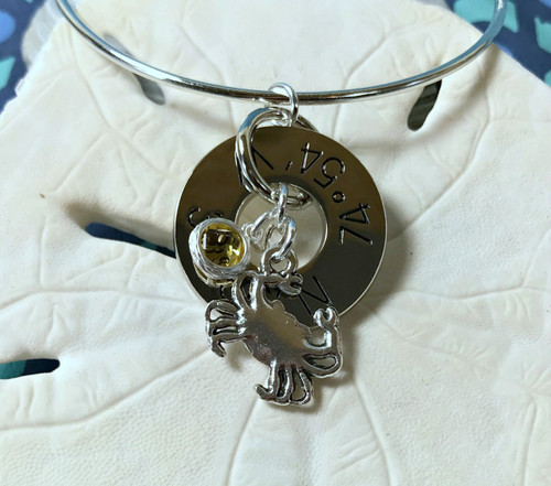 Find Your Way Back - Cape May Coordinates Silver Bracelet - Crab with Yellow Crystal