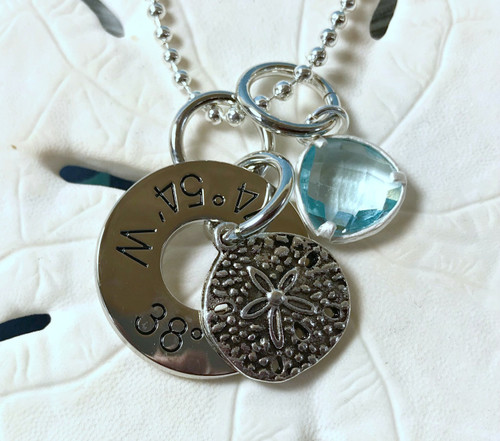 Find Your Way Back - Cape May Coordinates Necklace with Sand Dollar & Light Blue Crystal