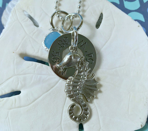 Find Your Way Back - Cape May Coordinates Necklace with Seahorse & Turquoise Crystal