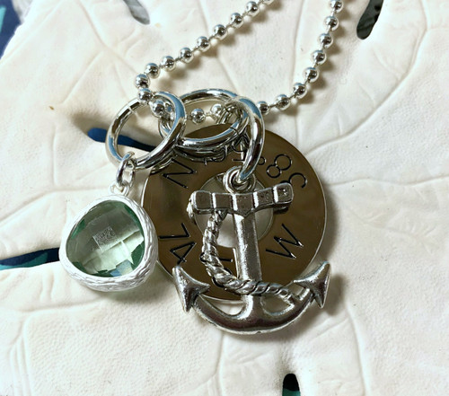 Find Your Way Back - Cape May Coordinates Necklace with Anchor & Light Aqua Crystal