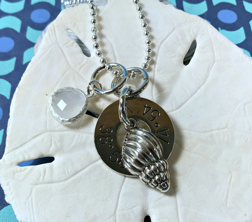 Find Your Way Back - Cape May Coordinates Necklace with Conch & White Crystal