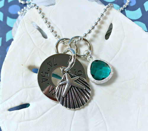 Find Your Way Back - Cape May Coordinates Necklace with Shell, Starfish & Turquoise Crystal